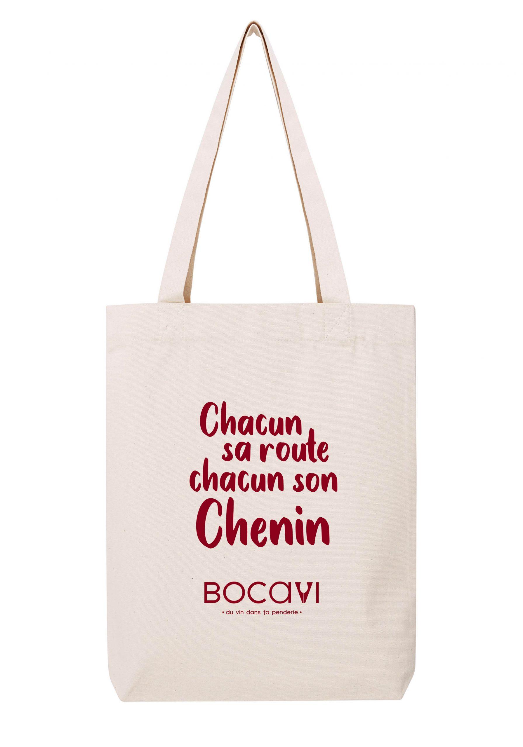 chacun sa route chacun son chenin sac coton tote bag bio bocavi du vin dans ta penderie bouteilles viticole vigneron wine